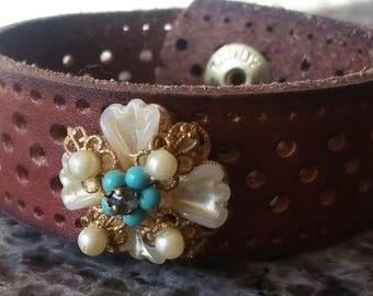 Brown Leather Cuff from repurposed belt and repurposed earring