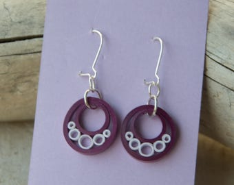 Quilled Paper Art Earrings Purple & White Jewelry