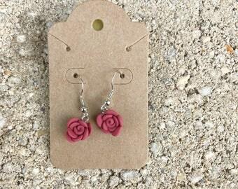Polymer Clay - Polymer Rose Stud Earrings  - Rose Stud Earrings - Clay Rose Earrings