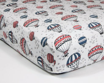 Hot Air Balloon Crib Sheet - Hot Air Balloon Flannel Crib Sheet