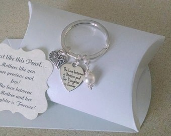 Mother Of The Bride Gift, Rehearsal Dinner Gift, Mother Of Groom, Mother Of Bride Groom, Mother In Law Key Chain, Charm Is Size of a Nickle