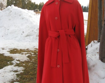 1960s Womens Lined Red Wool Cape/Wrap/Poncho/ Belted Wrap/ Size S-M/ Twiggy Cape Coat/ Valentines Wool Cape
