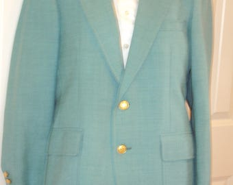 1960s-70s Mens Spring/Summer Seafoam Green Partially Lined Cricketeer Sports Coat/Blazer/ Bridal/Prom/Dinner Jacket Size 38/ Turquoise/Aqua