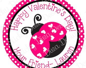 PERSONALIZED VALENTINE STICKERS - Little LadyBug - Round Gloss Sticker Labels