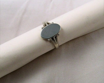 oval signet ring, sterling silver