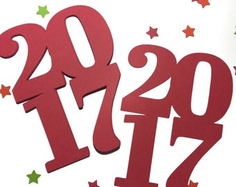 """2017 - 4"""" Paper Die Cut -Set of 18 - Graduation party - Class of 2017 - New Years eve - Graduation Decor - Place Cards - Name Tags - Paper"""