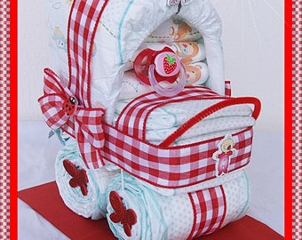 Pushchair stroller in red diapers