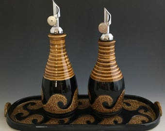 Olive Oil Bottles Oil Cruets, Oil Dispenser Set with Tray One of a Kind Handmade Pottery Ceramic by NorthWind Pottery