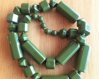 Necklace - Long sage green plastic large chunky beaded necklace high quality item