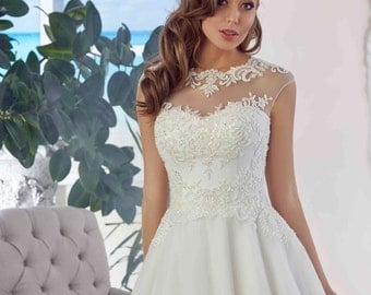 Bridal Lace Wedding Dress - Amabel Stunning Lace Dress - Long Tulle Wedding Dress - Elegant Wedding Dress - Unique Wedding Dress