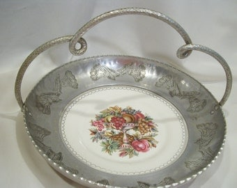 Large Faberware Aluminum and China Basket, Wrought Handle, Triumph American Limoges, Grecian Floral Plate, Mid Century, Decorative Basket