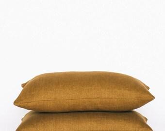 Gold Linen Kidney Pillow