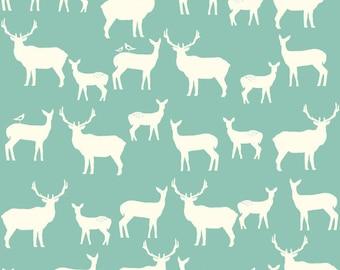 Elk Family in Pool, Elk Groove -Knit by Birch Fabrics - Yardage - woodland fabric, blue knit, modern knit, buck fabric, deer fabric, organic