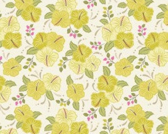 Yellow Hibiscus, Island Girl, Lewis & Irene, tropical, summer, fabric by the yard, floral, Hawaii, quilting cotton, island princess