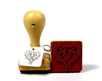 Stamp of birds in Love Herz birds square