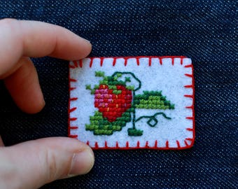 Cross-Stitch Strawberry Patch: Sew-on