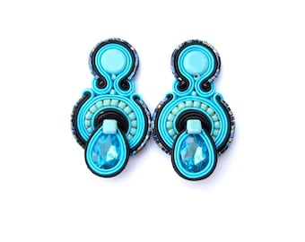 Blue Clip On Earrings, Soutache Earrings, Clip Earrings, Turquoise Earrings, Blue Turquoise Earrings, Handmade Earrings, Soutache Jewelry