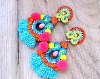 Tassel Earrings Long, Colorful Clip-On Earrings, Pom Pom Earrings, Tribal Earrings, Boho Soutache Earrings, Handmade Earrings