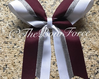 Maroon White Silver Cheer/Softball bow
