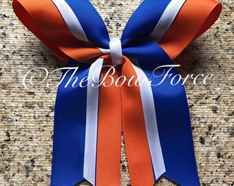 Royal Blue White Orange Cheer/Softball bow