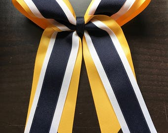 Yellow/Gold White Blue Softball Bow/Cheer Bow - #187294450