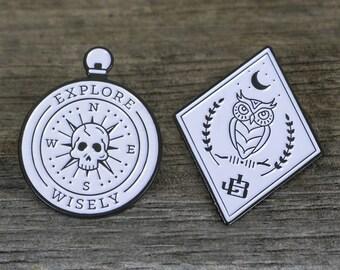 Enamel Pins - Night Owl & Skull Compass Set