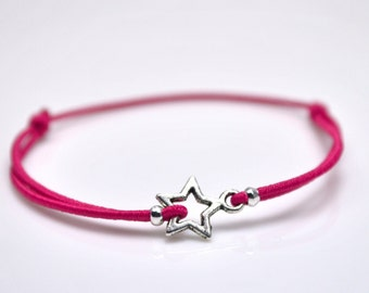 Silver star bracelet fuchsia cord