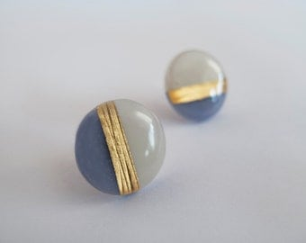 Large White and Blue Gray with 23k Gold  Round Stud Earrings - Hypoallergenic Titanium Posts