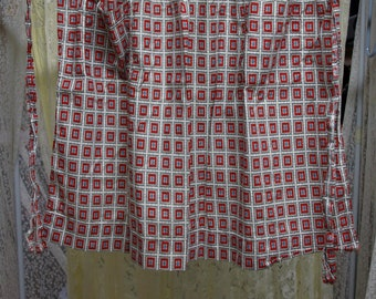 Homemade Red Print Apron 20″ Front