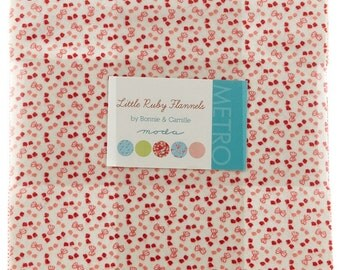 Moda Little Ruby Flannels  Layer Cake 42 Fabric 10 inch Squares Bonnie and Camille