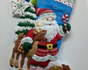 "18"" Completed Ready to Ship Hand Sewn Bucilla Christmas Stocking Nordic Santa"