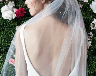 ANNABELLE Veil w/ PEARLS ALLOVER - bridal veil, wedding veil, fingertip length veil, pearl veil, wedding veil, bridal fingertip veil, veil
