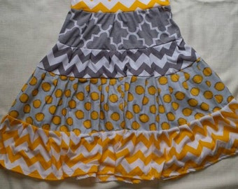 Yellow and gray easter spring dress 6/7 ready made ready to ship