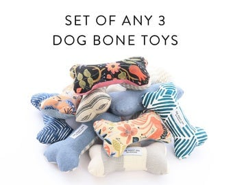 Choose Any 3 Dog Bone Toys Squeaker Chew Toys Gift