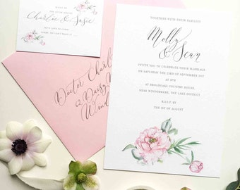 Pink Peony personalised wedding invitation - wonderfully feminine and oh so pretty in pink