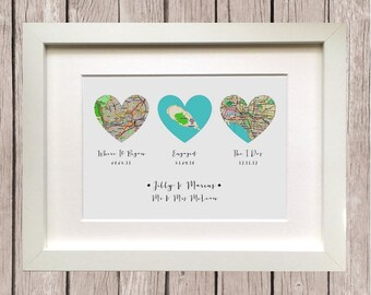 Where It All Began, Three Heart Map Personalised Gift, Wedding Gift, Anniversary Gift, Gift for Couple, Groom Gift, Bride Gift, Husband Gift