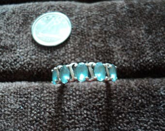 Blue Topaz Oval-Cut 4.4g Sterling Silver Ring (6)
