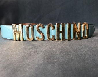 90s MOSCHINO  Blue Leather Belt / Moschino by Redwall Letters belt / size M / golden logo belt