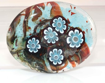 Large Blue and White Flowers Cab Handmade Lampwork Glass Cabochon - On Sale