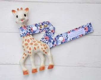 Toy Leash / Toy Strap - Rosa in Periwinkle - Floral Roses