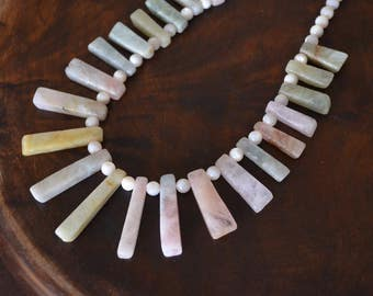 Morgan stone tiles with Pearl shell beads necklace