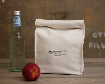 Lunch Bag Natural cotton canvas, Clutch bag Reusable Eco bag Snack bag, Organizer Bag insert