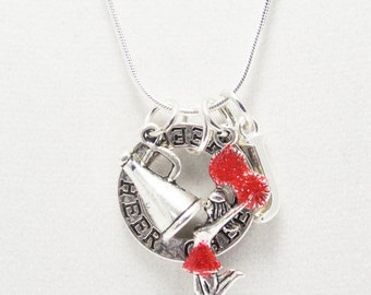 Cute Cheerleader Gift Idea, Cheer necklace, Red & Silver, Cheer Gift ideas, Cheer Pom Poms charm, Cheer-leading Spirit Jewelry