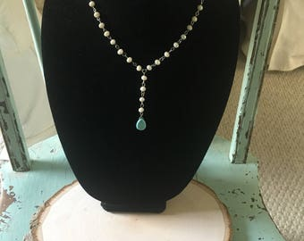 Turquoise Rosary Chain Y Necklace