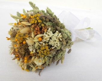 Rustic bouquet from dried flowers and grass wildflowers home decor  Yellow & Green