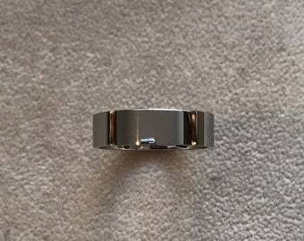 6mm Titanium Polished Flat Men's Wedding Band Available in Sizes 5 to 14