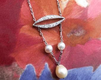 Antique Art Nouveau Edwardian 1900's Pearl Diamond Wedding Birthstone Pendant Necklace Platinum