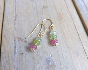 Pastel Blue Green Pink Tourmaline and 14k Gold Filled Stick Earrings
