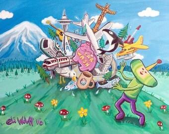 Seattle Katamari -- 8.5x11 Art Print