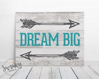 dream big sign wood print dream big nursery decor dream big printable teen - Teen Decor